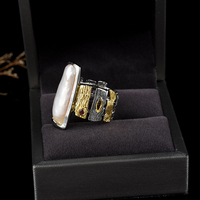 Original design of the new 925 silver inlaid pearl ring baroque pearl jewelry custom ladies ring