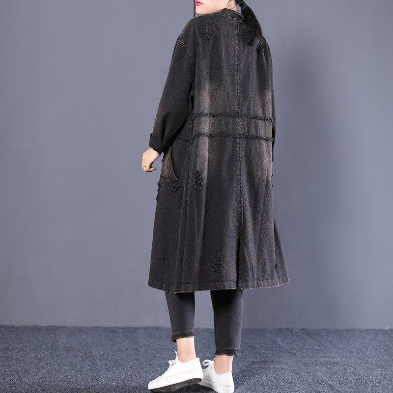 Denim Bouton Rétro Longues Grande Lâche Taille Manteau Noir D'hiver Blanchis Pardessus Femmes Femelle Casual Cardigan Hauts RnXSqP