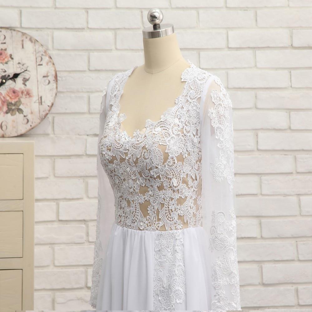Sexy 2019 A lijn Sweetheart Kapmouwtjes Witte Chiffon Kant Slit Lange Elegante Prom Jurken Prom Gown Avondjurken Avondjurk - 4