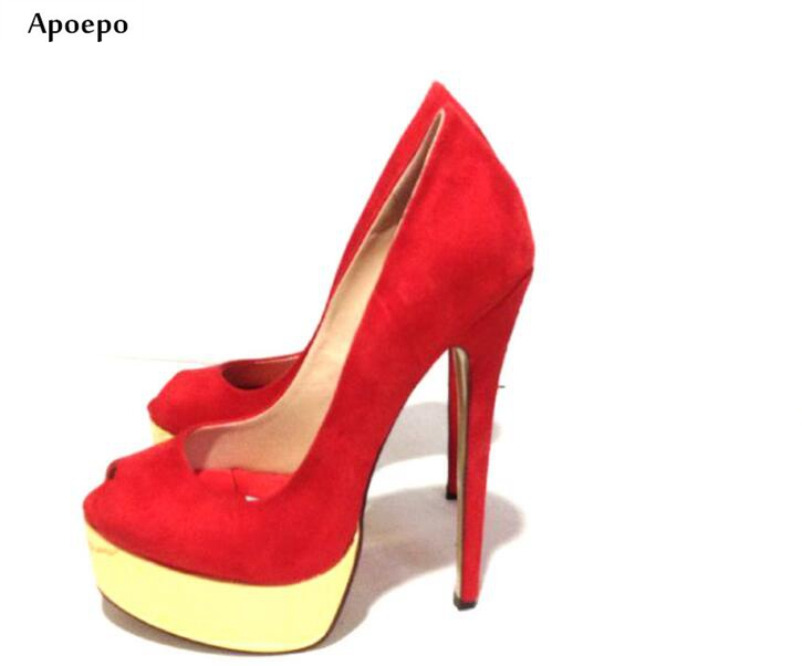 New Newest Peep Toe Platform Pumps 2018 Red Suede Super High Slip on Shoes for Woman Thin Heels Dress Shoes Party Heels 2018 new arrival women red gold metallic leather border snake pumps thin high heels party shoes lady slip on shoes woman