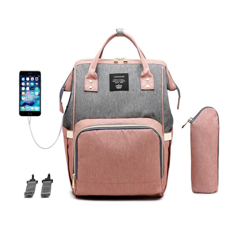Lequeen Mummy Bag USB Charging Shoulder Bag Mother Mu Ying Bao Multi-Function Large Capacity Wai Chu Bao Backpack