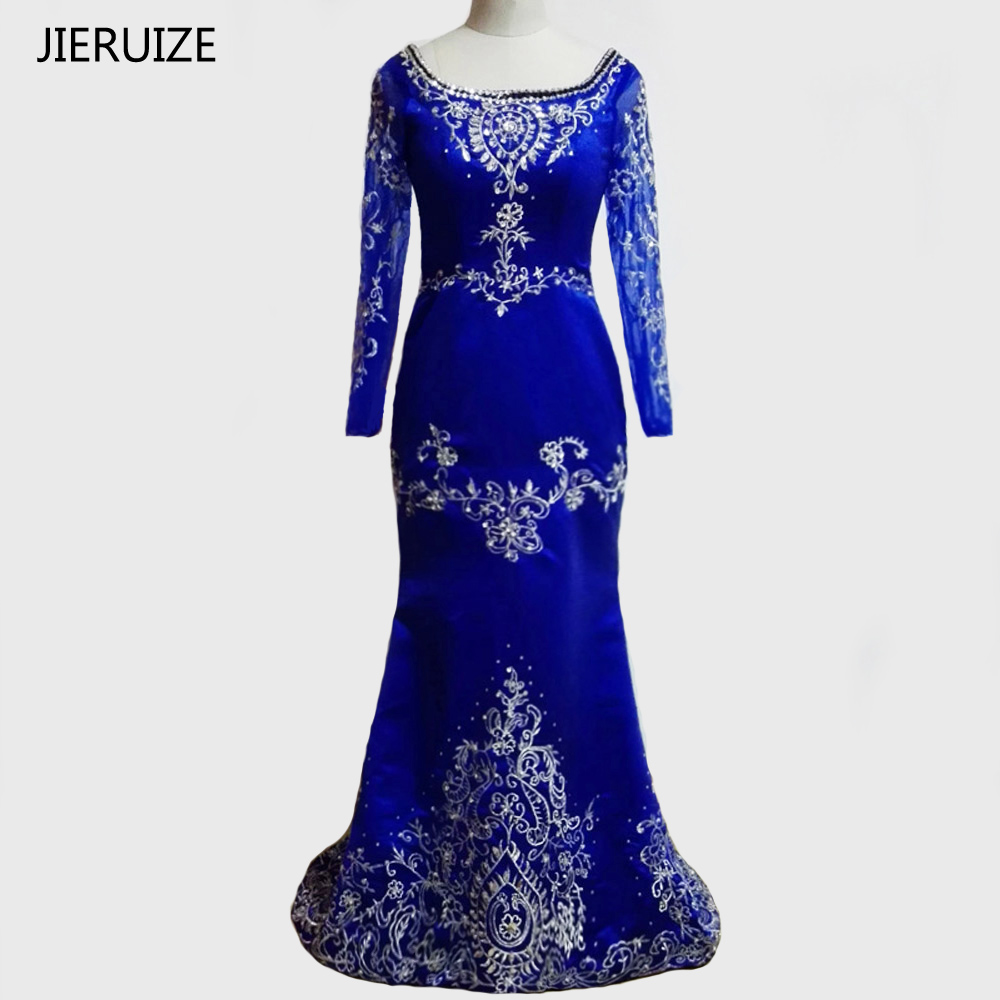 JIERUIZE Royal Blue Long Sleeves Mermaid Luxury   Evening     Dresses   Crystals Embroidery Prom   Dresses   robe de soiree