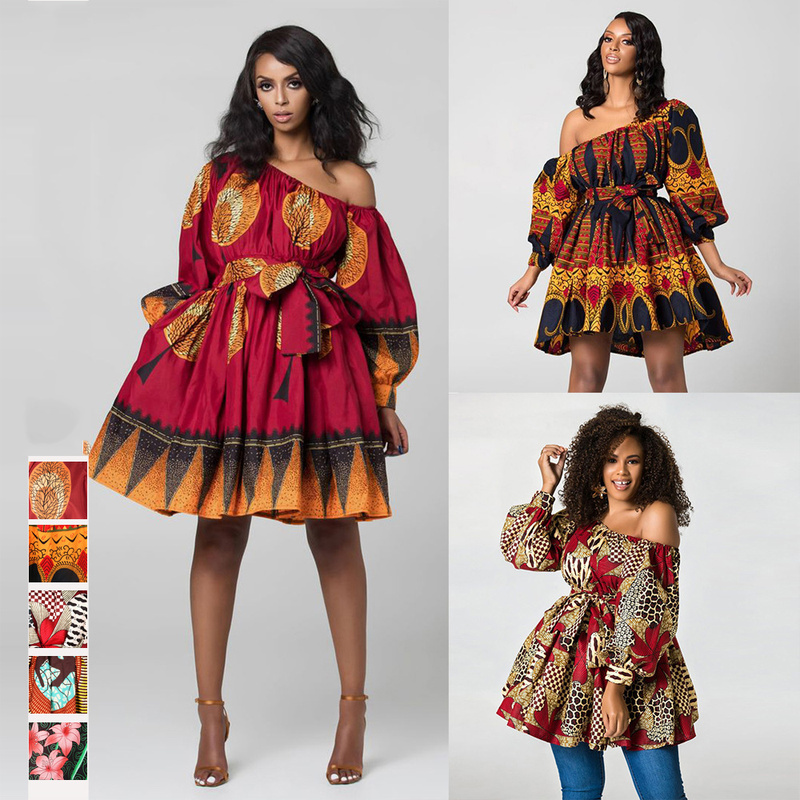 Vetement Femme 2019 African Skirt Tops Ladies Clothes Party Wear Sexy Dresses For Women Print Floral Traditional Clothing Outfit