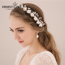 Handmade Korean Bride Tiara Flower Beading Crystal Hair Accessories Sweet Princess Married frontlet Bridal