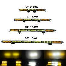 Amber White Led Light Bar Spot Flood Combo Barra 90W 120W 150W 180W 210W 21 27 33 39 45 Work Driving 12V