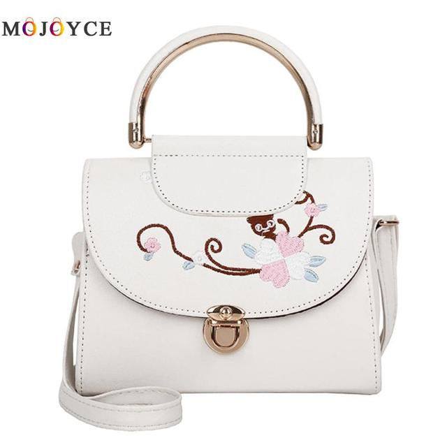 Women Flowers Embroidery PU Leather Top-Handle Bags Lady Sling Shoulder Messenger Bags Female Handbag 1