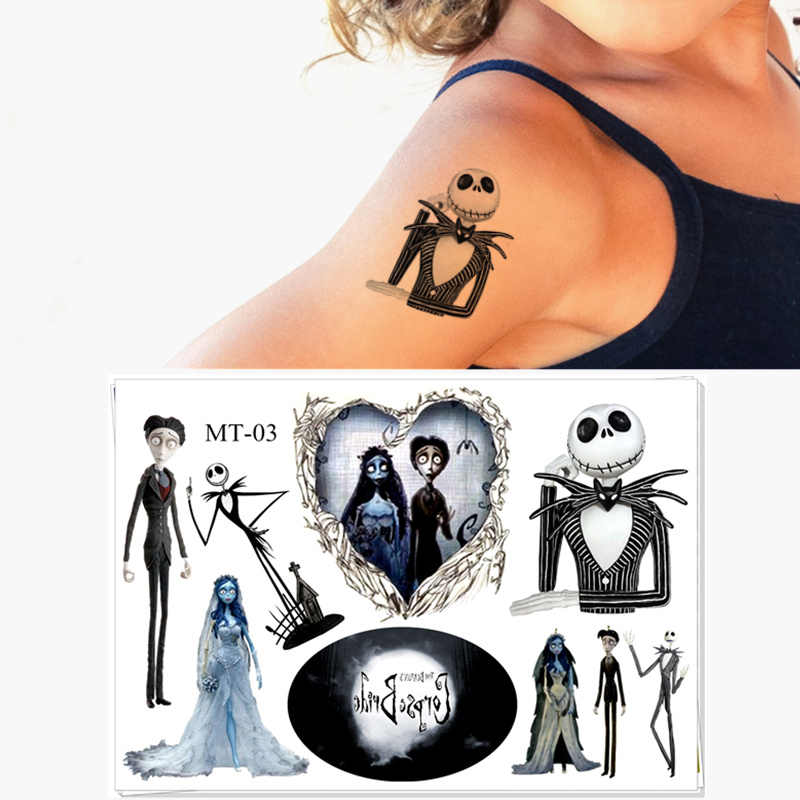 Cute Children Temporary Tattoo Sticker Cartoon Tatoo Body Art Novelty Gag Toys for Skeleton Jack Fans Waterproof 2-3 Days