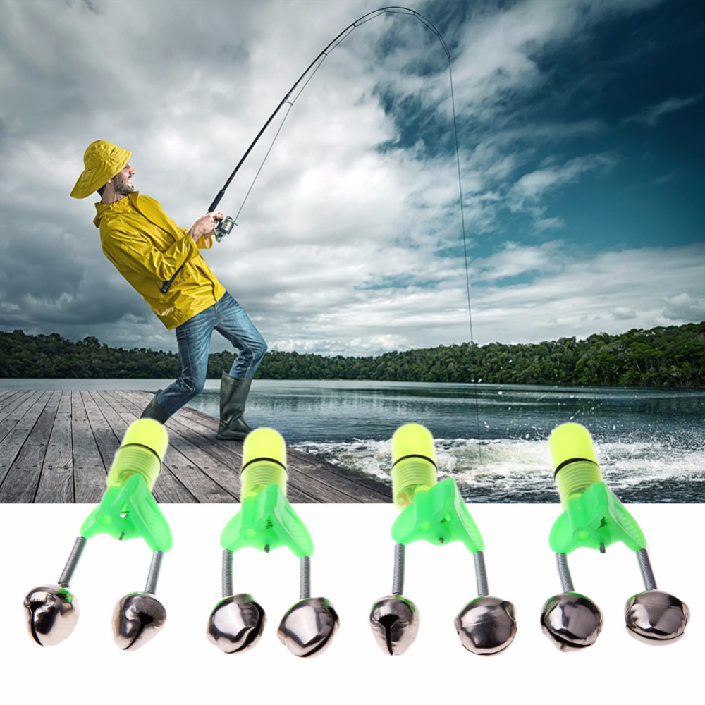 4pcs LED Fishing Rod Bite Alarm Red Light Twin Bells Clip Light Alarm Fishing Bells Alerter Fishing Warning Tackle Tool
