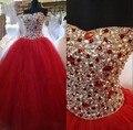 Vestidos de baile Sem Encosto Querida Longo Doce 16 Debutante Vestidos Vestidos De 15 Años Vermelho Quinceanera Vestidos Com Cristal Frisada