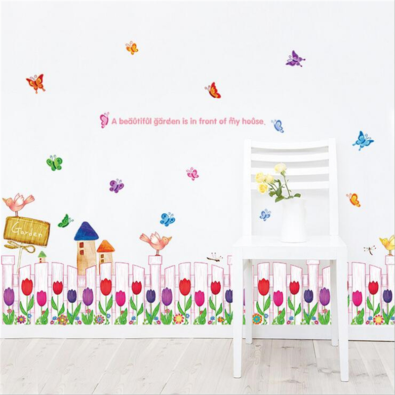 1Pcs Butterfly Flower Wall Sticker Vinyl Wall Stickers For Kids Rooms  Living Room Corner Decorations Bedroom