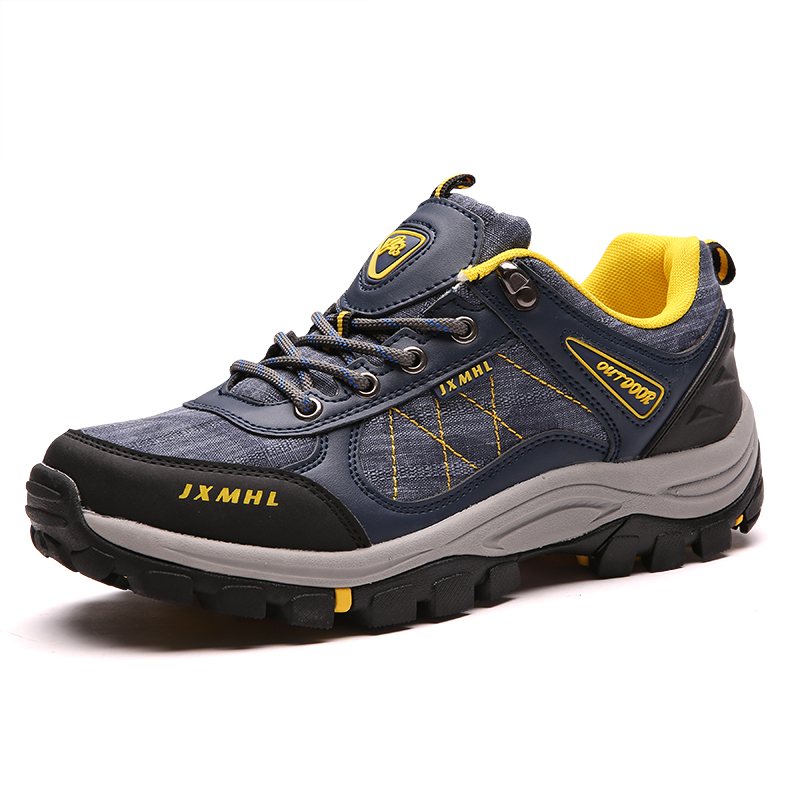 2016 Autumn/Winter Trekking Hiking Shoes Men Outdoor Mountain Boots Leather Sport Shoes for Men Blue/Gray Outdoor Hiking Boots 2pcs car styling right left fog light lamp w h11 halogen 12v 55w bulb assembly for nissan tiida hatchback c11x 2007 2011 2012