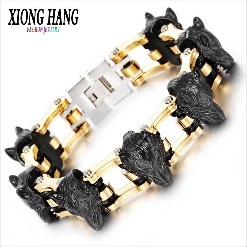 XiongHang Men Stainless Steel Bracelet Bangle Wolves Bracelet Charismatic Bicycle Chain Titanium Steel Ornaments 2018 Hot Sales delicate titanium steel chain bracelet for men