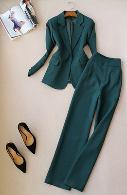 Nouveau Pantalon Jambes Solide Veste Costume Blazer Kelly vert Deux Larges 2018 Femmes Pièces Dames Blanc Couleur jaune À Sac Professionnel AzWqd