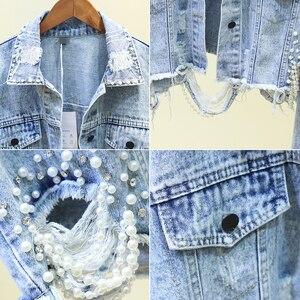 Image 5 - Autumn Streetwear Pink White Womens Jeans Jacket Coat Beading Hole Short Female Denim Jackets Long Sleeve Loose Cowboy Outwear