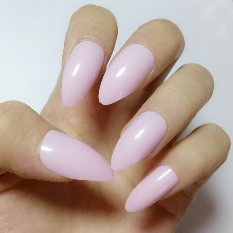 Shiny Candy False Nails Fashion Light Pink Acrylic Stiletto Tips Sweet Style Full Cover Diy Nail Art Decoration E169 In From Beauty