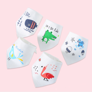 Baby Bibs for Boy Girl Bandana Bib Burp Cloth Print Animal Triangle Cotton Baby Scarf Meal Collar Burp Baby Accessories 1