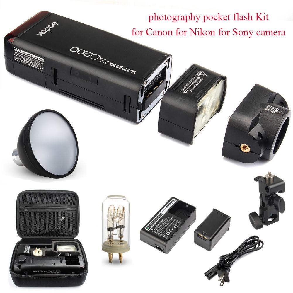 Godox AD200 2.4G 1/8000 HSS Flash fotografia flash tasca Kit per Canon per Nikon per fotocamera Sony con AD-S2 Standard riflettore