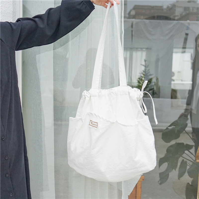 Youda Korean Style Personality Drawstring Shoulder Bag Large Capacity Casual Cotton Crossbody Bags
