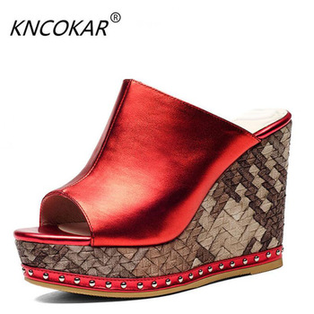 """KNCOKAR 2018 """"Fashion cool and thick bottom slope and inside and outside whole leather leisure leather sandals super heel"""""""