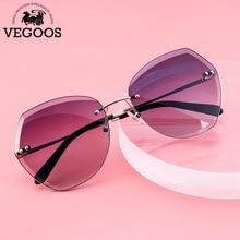 VEGOOS Fashion Sunglasses for Women Designer UV400 Protection Retro Ladies Shades with HD Nylon Lens Rimless Eyewear Glass 3193 цена