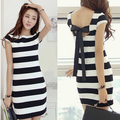 Plus Size Women Vestidos Casual Free Shipping Black And White Striped Summer Dress Back Bow Casual Dress Femininos Verao D135