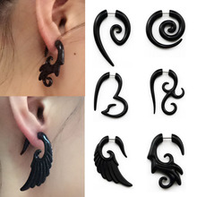 2pcs Black Acrylic Fake Cheater Twist Spiral Ear Taper Gauges Expanders Earring Tunnel Plugs Piercing Body Jewelry For Women Men