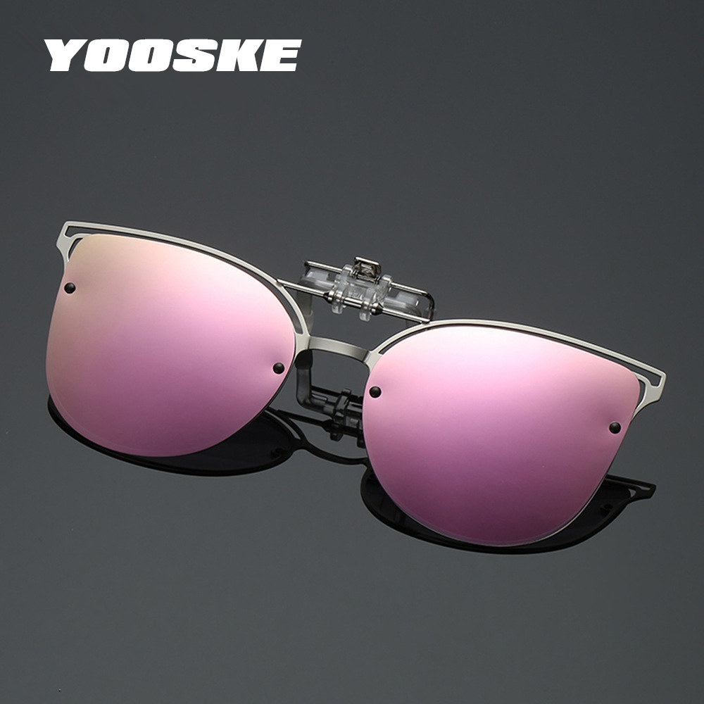 YOOSKE Luxury Polarized Clip On Sunglasses Women Driving Night Vision Lens Cat Eye Sun Glasses Ladies Glasses With Pouch Cloth