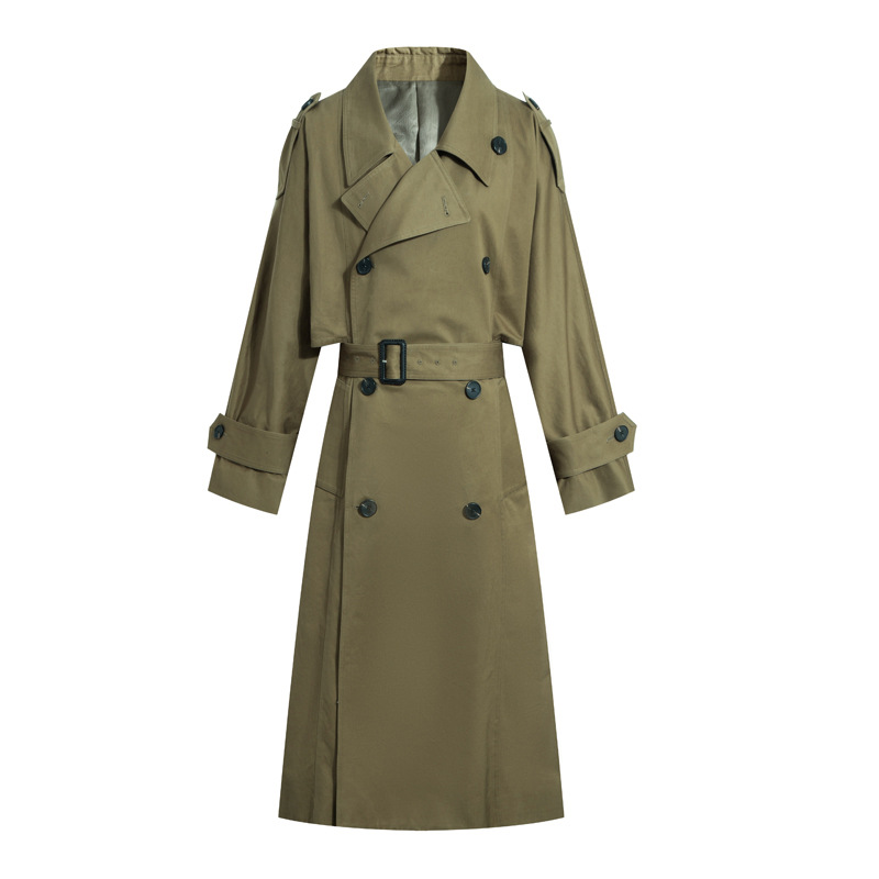 New Spring Autumn New Women Casual   Trench   Coat Oversize Double Breasted Vintage Washed Outwear Loose Clothing Long   Trench   A2752
