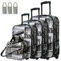 """DAVIDJONES 4 Шт. Багаж Набор, 20 """"24"""" 28 """"3 чемодан и макияж мешок Вертикально Прочный большой емкости тележки путешествия чемодан"""