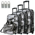 "DAVIDJONES  4 Piece Luggage Set, 20"" 24"" 28"" 3 suitcase & make-up bag Upright Durable large capacity trolley travel valise"