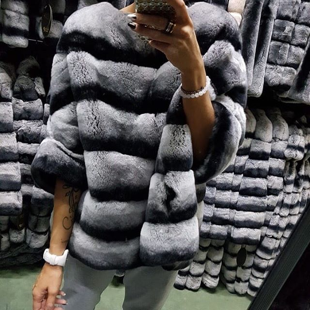 Real Rex Rabbit Fur Poncho Coat Jacket Stripe With Batwing Sleeve Furry Winter Warm Half Sleeve 2018 Pink Clothes Pullover Tops