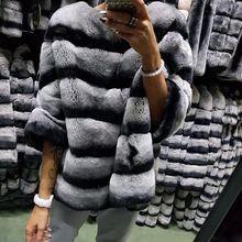 Настоящий мех кролика пончо пальто куртка в полоску с рукавом летучая мышь Пушистый Зимний теплый короткий рукав розовая одежда пуловер Топы