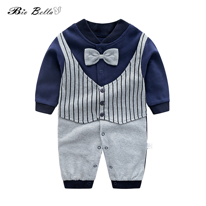 New Baby Rompers Cotton Long Sleeve Beard Print Clothing Plaid Overalls for Newb