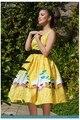 0209-1950 s rockabilly pinup vintage casual elegante vestido sexy vestidos de tren amarillo más tamaño UK8-24