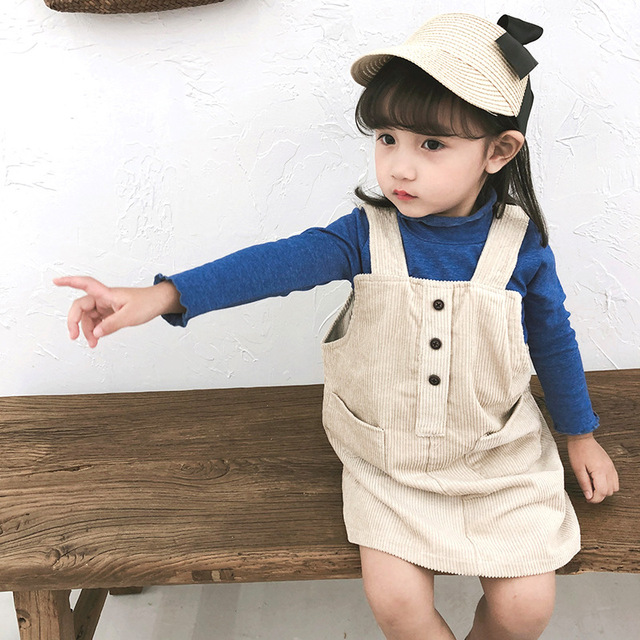3c619510d5a Autumn new arrival Korean style corduroy Overalls Dresses for baby girls  children all-match fashion pinafore skirt 1-6Y