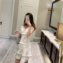 New 2019 Butterfly water soluble lace stitching accept waist vest dress F1246 v neck cultivate morality v neck sleeveless lace stitching design vest