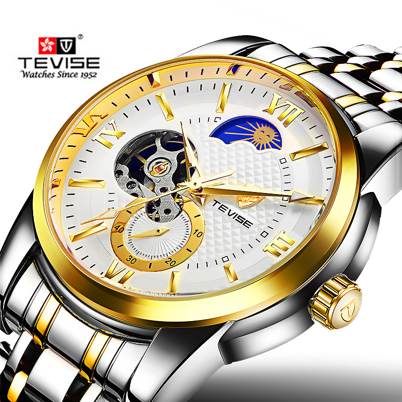 New TEVISE Moon Phase Clock Men's Automatic Mechanical Watches Men Fashion Business Gold Stainless Steel Watch relogio masculino fantastic 2016 hot sale leaf pendant bracelet leather chain alarm clock analog quartz movement wristwatches free shipping jun 28