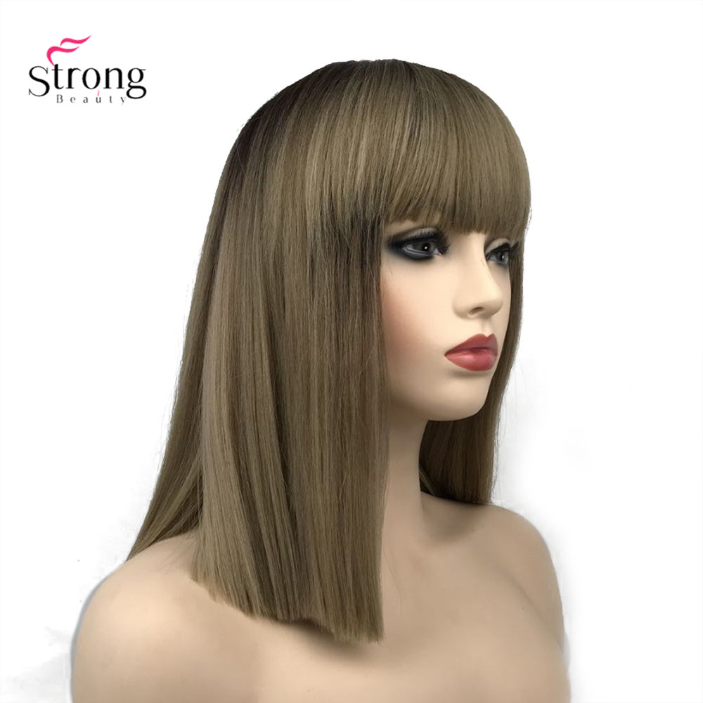 StrongBeauty Women's Synthetic Wig Ombre Hair Natural Neat Bang Hairstyle Golden Brown Long Straight  Wigs