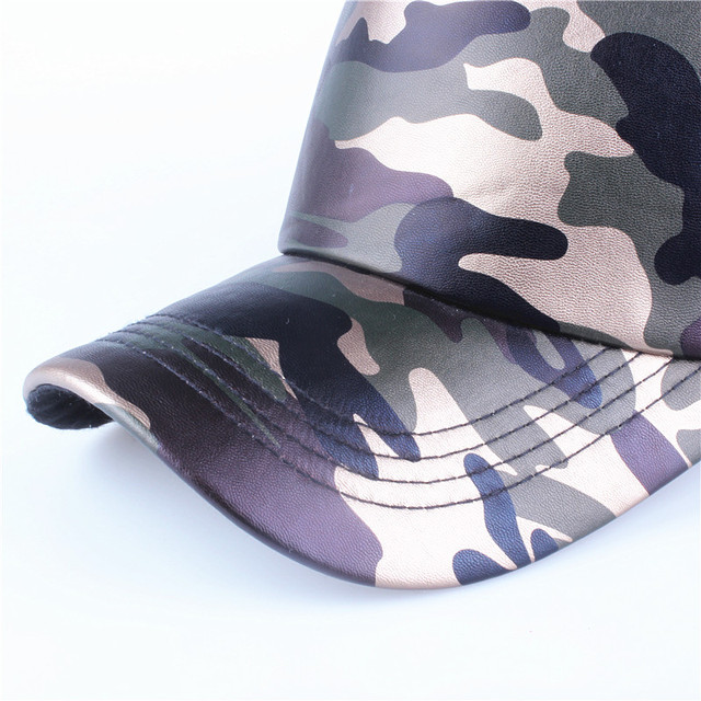 Xthree 5 panels summer baseball cap mesh cap faux leather Camouflage snapback hat men hip hop casquettes hats for women bone 3