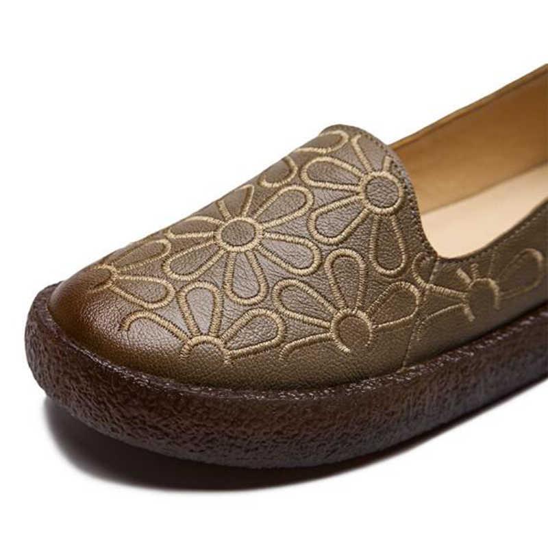 2019 hakiki deri yaz mokasen kadın rahat ayakkabılar Moccasins yumuşak kadın ayakkabıları platformu kadınlar Flats ayakkabı kadın hy14