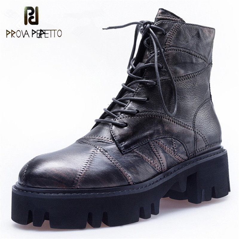 Prova Perfetto New Style Round Toe Motorcycle Boots Women Thick High Heels Short Boots Genuine Leather Corss-tied Martin Boots цены онлайн