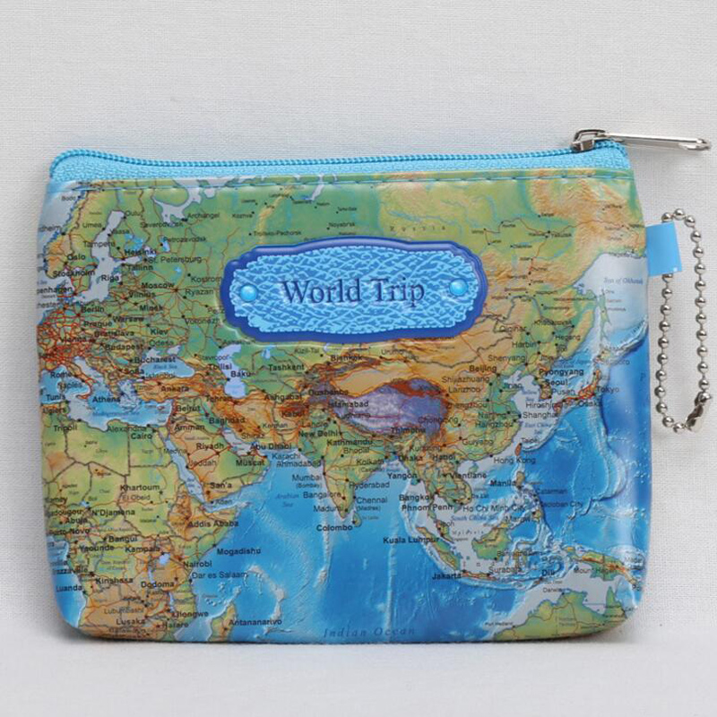 Hot sale Nylon Zipper 3D Printing Mini World Map Coin Purse Pouch Women Men Casual Zipper Card Dollar Change Bag Case 300ml world map change color cup discolored in case of hot water