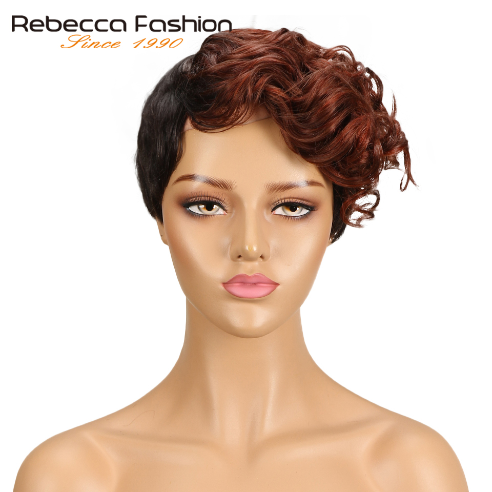 Rebecca Short Sassy Curly Hair Wig Peruvian Remy Human Hair Wigs For Black Women Brown Red Mix Color Machine Made Wig Free Ship