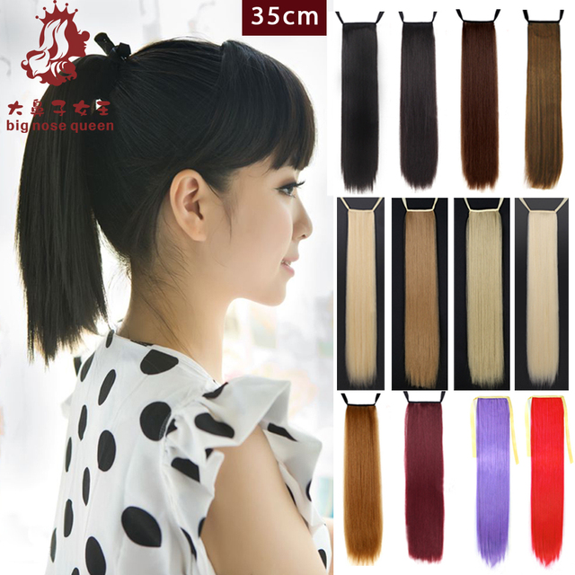 Natural Hair Styling Tools 35Cm Women Short Straight Ponytail Ribbon Synthetic Hairpiece .