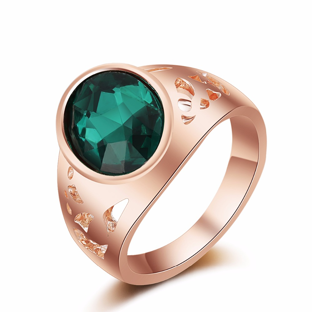 G17 Quality Genuine Gold Color Luxury Exaggerated Wedding Blue Zircon Crystal Rings Female Statement Jewelry Accessories