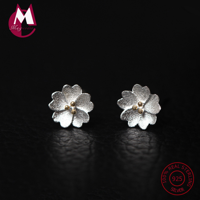 925 Sterling Silver Earrings For Women Original Lovely Cherry Blossom Stud Earrings Pink Flower Engagement Fine Jewelery YE23