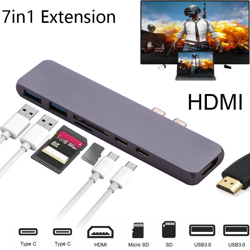 Alloy 7-in-1 Dual USB C HUB with 4K HDMI Video Adapter SD/TF Card Reader 2 USB 3.0 Thunderbolt Type C HUB for MacBook Pro MAC type c to 4k hdmi tv video adapter converter microsd tf sdhc sd card reader usb 3 0 hub for macbook for mac notebook computer