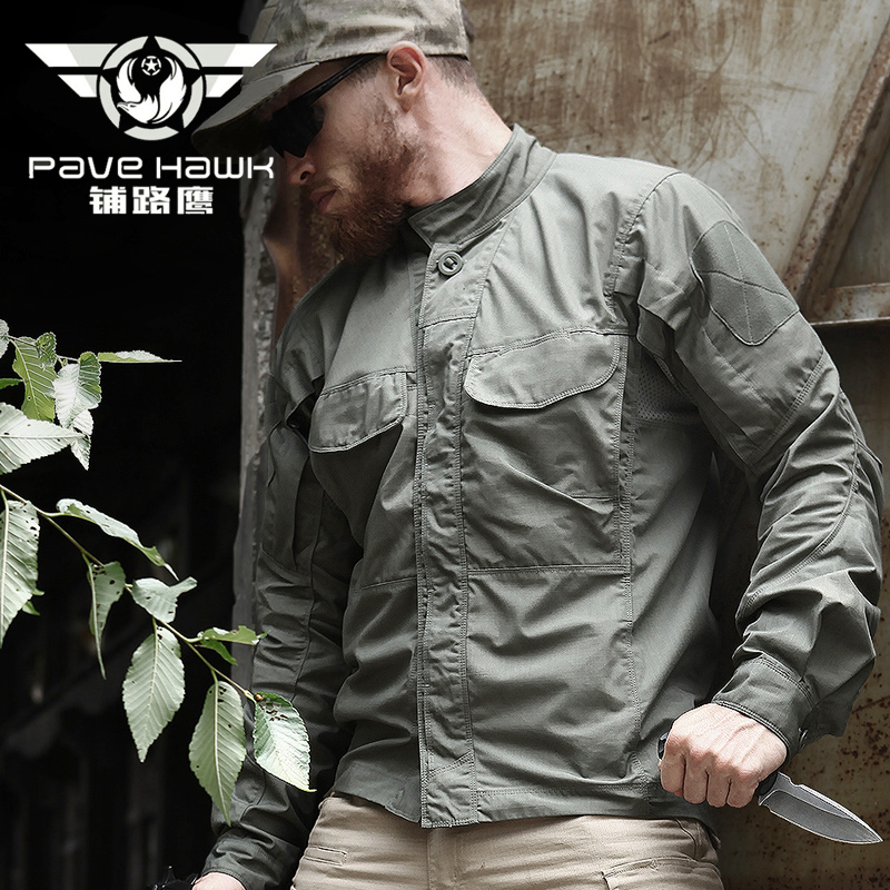 Cotton Shirts Men Dress Long Sleeve Breathable Waterproof Quick Dry Shirt Outdoor Sports Tactical Military Hiking