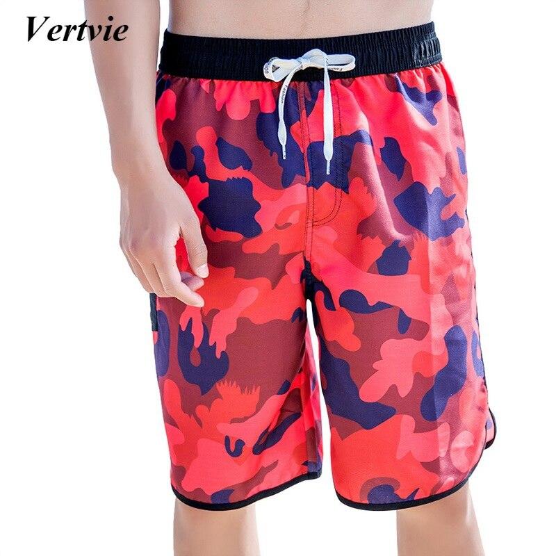 Vertvie Summer Beach Style Shorts Men Polyester Letter Printing Soft Swimming Short Loose Stretch Short Pants Swimwear Male