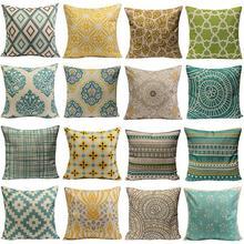 2015 Hot Sale Vintage Geometric Flower Cotton Linen Throw font b Pillow b font Case font